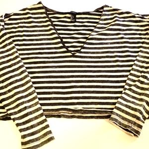 Long Sleeved Striped Distressed Faded Crop Top